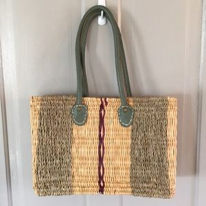 Handbags - Sea grass bag with leather straps